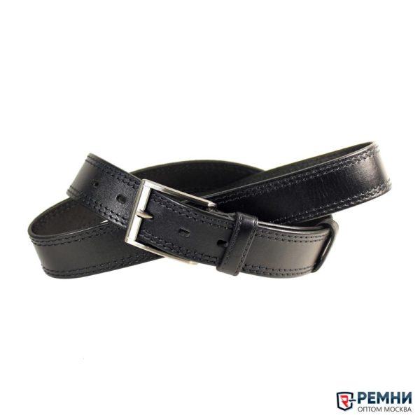 LeaBelt 35 мм, черный, кожа, две строчки