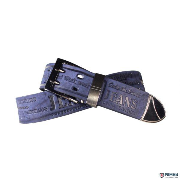 Ремень CORONA 40 мм синий, с надписью
