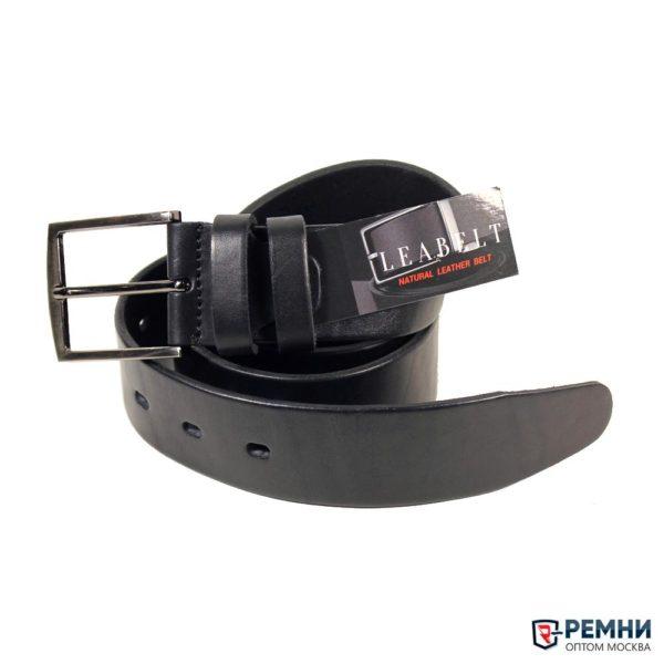 Ремень LeaBelt 35 мм, черный, гладкий